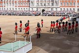 The Colonel's Review 2013: The eighteen officers, three for each Guard, that had been marching towards Horse Guards Arch before are now about to take post in front of their respective Guards.. Horse Guards Parade, Westminster, London SW1,  United Kingdom, on 08 June 2013 at 10:37, image #170
