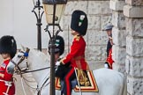 The Colonel's Review 2013: The Field Officer in Brigade Waiting, Lieutenant Colonel D W L Bossi, Welsh Guards, at Horse Guards Arch.. Horse Guards Parade, Westminster, London SW1,  United Kingdom, on 08 June 2013 at 10:41, image #191