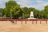 The Colonel's Review 2013: The eighteen officers are marching back towards their Guards, flanked by the Major and the Adjutant of the Parade.. Horse Guards Parade, Westminster, London SW1,  United Kingdom, on 08 June 2013 at 10:41, image #196