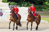 The Colonel's Review 2013: Two grooms leading the group of carriages with members of the Royal Family from Buckingham Palace to Horse Guards Building.. Horse Guards Parade, Westminster, London SW1,  United Kingdom, on 08 June 2013 at 10:50, image #219