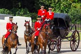 The Colonel's Review 2013: Two grooms leading the group of carriages with members of the Royal Family from Buckingham Palace to Horse Guards Building.. Horse Guards Parade, Westminster, London SW1,  United Kingdom, on 08 June 2013 at 10:50, image #220