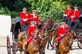 The Colonel's Review 2013: Two grooms leading the group of carriages with members of the Royal Family from Buckingham Palace to Horse Guards Building.. Horse Guards Parade, Westminster, London SW1,  United Kingdom, on 08 June 2013 at 10:50, image #221