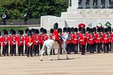 The Colonel's Review 2013: The gap in the line that No. 3 Guard had opened for the carriages has been closed again, the field officer is riding back to the centre of the line.. Horse Guards Parade, Westminster, London SW1,  United Kingdom, on 08 June 2013 at 10:54, image #236