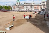 The Colonel's Review 2013: The dais, the saluting platform for HM The Queen, is moved into place in front of Horse Guards Arch, after the carriages have passed.. Horse Guards Parade, Westminster, London SW1,  United Kingdom, on 08 June 2013 at 10:53, image #233