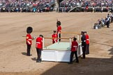 The Colonel's Review 2013: The dais, the saluting platform for HM The Queen, is moved into place in front of Horse Guards Arch, after the carriages have passed.. Horse Guards Parade, Westminster, London SW1,  United Kingdom, on 08 June 2013 at 10:53, image #234