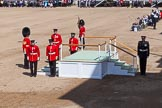 The Colonel's Review 2013: The dais, the saluting platform for HM The Queen, is in the final stages of assembly, shortly before the arrival of the Royal Procession.. Horse Guards Parade, Westminster, London SW1,  United Kingdom, on 08 June 2013 at 10:55, image #238