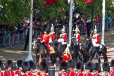 The Colonel's Review 2013: Leading the Royal Procession from The Mall onto Horse Guards Parade - Brigade Major Household Division Lieutenant Colonel Simon Soskin, Grenadier Guards, followed by four Troopers of The Life Guards.. Horse Guards Parade, Westminster, London SW1,  United Kingdom, on 08 June 2013 at 10:55, image #241
