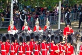 The Colonel's Review 2013: Brigade Major Household Division Lieutenant Colonel Simon Soskin, Grenadier Guards, followed by four Troopers of The Life Guards, leading the Royal Procession onto Horse Guards Parade.. Horse Guards Parade, Westminster, London SW1,  United Kingdom, on 08 June 2013 at 10:56, image #243