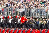 The Colonel's Review 2013: Leading the Royal Procession, Brigade Major Household Division Lieutenant Colonel Simon Soskin, Grenadier Guards, followed by four Troopers of The Life Guards, are marching past No. 6 Guard on the eastern side of Horse Guards Parade.. Horse Guards Parade, Westminster, London SW1,  United Kingdom, on 08 June 2013 at 10:56, image #244