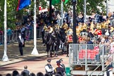 The Colonel's Review 2013: The Mounted Bands of the Household Cavalry are marching down Horse Guards Road as the third element of the Royal Procession, taking position at the northern side of Horse Guards Parade, next to St James's Park. Horse Guards Parade, Westminster, London SW1,  United Kingdom, on 08 June 2013 at 10:56, image #246
