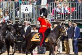 The Colonel's Review 2013: Leading the Royal Procession, Brigade Major Household Division Lieutenant Colonel Simon Soskin, Grenadier Guards, salute when passing the Colour.. Horse Guards Parade, Westminster, London SW1,  United Kingdom, on 08 June 2013 at 10:56, image #248