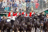 The Colonel's Review 2013: The Four Troopers of The Life Guards, following the Brigade Major at the head of the Royal Procession.. Horse Guards Parade, Westminster, London SW1,  United Kingdom, on 08 June 2013 at 10:56, image #249