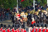 The Colonel's Review 2013: The Mounted Bands of the Household Cavalry are marching down Horse Guards Road as the third element of the Royal Procession.. Horse Guards Parade, Westminster, London SW1,  United Kingdom, on 08 June 2013 at 10:57, image #250