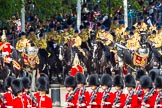 The Colonel's Review 2013: The Mounted Bands of the Household Cavalry are marching down Horse Guards Road as the third element of the Royal Procession.. Horse Guards Parade, Westminster, London SW1,  United Kingdom, on 08 June 2013 at 10:57, image #251