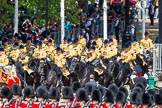 The Colonel's Review 2013: The Mounted Bands of the Household Cavalry are marching down Horse Guards Road as the third element of the Royal Procession.. Horse Guards Parade, Westminster, London SW1,  United Kingdom, on 08 June 2013 at 10:57, image #252