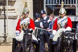 The Colonel's Review 2013: The Two Troopers of The Life Guards, following the Brigade Major at the head of the Royal Procession.. Horse Guards Parade, Westminster, London SW1,  United Kingdom, on 08 June 2013 at 10:57, image #253