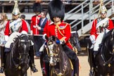 The Colonel's Review 2013: Leading the Royal Procession, Brigade Major Household Division Lieutenant Colonel Simon Soskin, Grenadier Guards.. Horse Guards Parade, Westminster, London SW1,  United Kingdom, on 08 June 2013 at 10:57, image #254