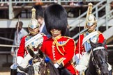 The Colonel's Review 2013: Leading the Royal Procession: Brigade Major Household Division, Lieutenant Colonel S G Soskin, Grendadier Guards.. Horse Guards Parade, Westminster, London SW1,  United Kingdom, on 08 June 2013 at 10:57, image #255