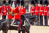 The Colonel's Review 2013: The Non-Royal Colonels, Colonel Coldstream Guards General Sir James Bucknall and Gold Stick in Waiting and Colonel Life Guards, Field Marshal the Lord Guthrie of Craigiebank, saluting the Colour during the Inspection of the Line.. Horse Guards Parade, Westminster, London SW1,  United Kingdom, on 08 June 2013 at 11:04, image #367