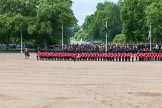 The Colonel's Review 2013: No. 1 Guard (Escort for the Colour),1st Battalion Welsh Guards is moving forward to receive the Colour.. Horse Guards Parade, Westminster, London SW1,  United Kingdom, on 08 June 2013 at 11:16, image #482