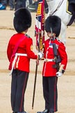 The Colonel's Review 2013: No. 1 Guard the Regimental Sergeant Major, WO1 Martin Topps, Welsh Guards saluting the Colour with his sword.. Horse Guards Parade, Westminster, London SW1,  United Kingdom, on 08 June 2013 at 11:19, image #504