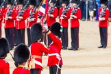 The Colonel's Review 2013: The Ensign, Second Lieutenant Joel Dinwiddle, takes posession of the Colour from the Regimental Sergeant Major, WO1 Martin Topps, Welsh Guards.. Horse Guards Parade, Westminster, London SW1,  United Kingdom, on 08 June 2013 at 11:19, image #520