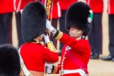 The Colonel's Review 2013: The Ensign, Second Lieutenant Joel Dinwiddle, takes posession of the Colour from the Regimental Sergeant Major, WO1 Martin Topps, Welsh Guards.. Horse Guards Parade, Westminster, London SW1,  United Kingdom, on 08 June 2013 at 11:19, image #523
