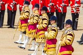 The Colonel's Review 2013: The five Drum Majors leading the Massed Bands as they are playing the Grenadiers Slow March.. Horse Guards Parade, Westminster, London SW1,  United Kingdom, on 08 June 2013 at 11:23, image #555
