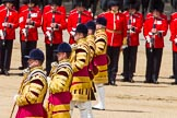 The Colonel's Review 2013: The five Drum Majors leading the Massed Bands as they are playing the Grenadiers Slow March.. Horse Guards Parade, Westminster, London SW1,  United Kingdom, on 08 June 2013 at 11:23, image #557