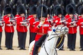 The Colonel's Review 2013: The Field Officer in Brigade Waiting, Lieutenant Colonel Dino Bossi, Welsh Guards gives the command to form divisions.. Horse Guards Parade, Westminster, London SW1,  United Kingdom, on 08 June 2013 at 11:27, image #590
