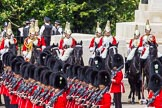 The Colonel's Review 2013: No. 1 Guard (Escort for the Colour),1st Battalion Welsh Guards, at the beginning of the March Past in Quick Time. Behind them the Household Cavalry in front of Guards Memorial.. Horse Guards Parade, Westminster, London SW1,  United Kingdom, on 08 June 2013 at 11:29, image #602