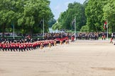 The Colonel's Review 2013: The Massed Bands, led by the five Drum Majors, during the March Past.. Horse Guards Parade, Westminster, London SW1,  United Kingdom, on 08 June 2013 at 11:30, image #607
