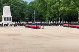 The Colonel's Review 2013: The March Past in Slow Time - Field Officer and Major of the Parade leading the six guards around Horse Guards Parade.. Horse Guards Parade, Westminster, London SW1,  United Kingdom, on 08 June 2013 at 11:30, image #608