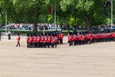 The Colonel's Review 2013: The March Past in Slow Time - Field Officer and Major of the Parade leading the six guards around Horse Guards Parade.. Horse Guards Parade, Westminster, London SW1,  United Kingdom, on 08 June 2013 at 11:30, image #612