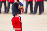 The Colonel's Review 2013: Close-up of the Ensign, Second Lieutenant Joel Dinwiddle, carrying the Colour during the March Past.. Horse Guards Parade, Westminster, London SW1,  United Kingdom, on 08 June 2013 at 11:33, image #627