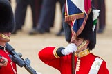 The Colonel's Review 2013: Close-up of the Ensign, Second Lieutenant Joel Dinwiddle, carrying the Colour during the March Past.. Horse Guards Parade, Westminster, London SW1,  United Kingdom, on 08 June 2013 at 11:33, image #629