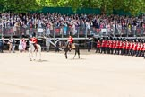 The Colonel's Review 2013: The Field Officer in Brigade Waiting, Lieutenant Colonel Dino Bossi, Welsh Guards, and the Major of the Parade, Major H G C Bettinson, Welsh Guards, leading the March Past.. Horse Guards Parade, Westminster, London SW1,  United Kingdom, on 08 June 2013 at 11:32, image #619