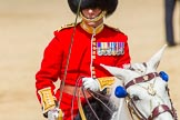 The Colonel's Review 2013: The Field Officer in Brigade Waiting, Lieutenant Colonel Dino Bossi, Welsh Guards, saluting Her Majesty during the March Past.. Horse Guards Parade, Westminster, London SW1,  United Kingdom, on 08 June 2013 at 11:37, image #661