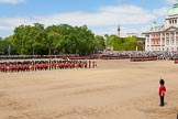 The Colonel's Review 2013: The Massed Bands, in the centre of Horse Guards Parade during the March Past, with the guards, on the very right of the image, march around them.. Horse Guards Parade, Westminster, London SW1,  United Kingdom, on 08 June 2013 at 11:39, image #673