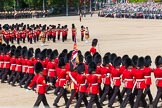 The Colonel's Review 2013: No. 1 Guard, the Escort to the Colour,1st Battalion Welsh Guards, during the March Past in Quick Time. A closer look from the rear.. Horse Guards Parade, Westminster, London SW1,  United Kingdom, on 08 June 2013 at 11:43, image #693