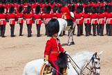 The Colonel's Review 2013: The Field Officer in Brigade Waiting, Lieutenant Colonel Dino Bossi, Welsh Guards, saluting Her Majesty during the March Past in Quick Time.. Horse Guards Parade, Westminster, London SW1,  United Kingdom, on 08 June 2013 at 11:45, image #699