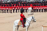 The Colonel's Review 2013: The Field Officer in Brigade Waiting, Lieutenant Colonel Dino Bossi, Welsh Guards, saluting Her Majesty during the March Past in Quick Time.. Horse Guards Parade, Westminster, London SW1,  United Kingdom, on 08 June 2013 at 11:45, image #700