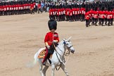 The Colonel's Review 2013: The Field Officer in Brigade Waiting, Lieutenant Colonel Dino Bossi, Welsh Guards, after saluting Her Majesty during the March Past in Quick Time.. Horse Guards Parade, Westminster, London SW1,  United Kingdom, on 08 June 2013 at 11:45, image #701