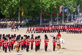 The Colonel's Review 2013: The March Past in Quick Time. No. 1 Guard, the Escort to the Colour,1st Battalion Welsh Guards,  marching along the Mounted Bands of the Household Cavalry.. Horse Guards Parade, Westminster, London SW1,  United Kingdom, on 08 June 2013 at 11:46, image #703