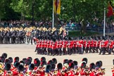 The Colonel's Review 2013: The March Past in Quick Time. No. 1 Guard, the Escort to the Colour,1st Battalion Welsh Guards,  marching along the Mounted Bands of the Household Cavalry.. Horse Guards Parade, Westminster, London SW1,  United Kingdom, on 08 June 2013 at 11:46, image #704