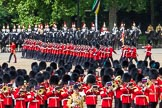 The Colonel's Review 2013: The March Past in Quick Time. The guards are marching beween the Massed Bands, in front, and the Blues and Royals behind them.. Horse Guards Parade, Westminster, London SW1,  United Kingdom, on 08 June 2013 at 11:47, image #705