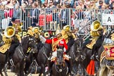 The Colonel's Review 2013: The Ride Past - the Mounted Bands of the Household Cavalry.The Director of Music of the Household Cavalry, Major Paul Wilman, The Life Guards.. Horse Guards Parade, Westminster, London SW1,  United Kingdom, on 08 June 2013 at 11:50, image #718