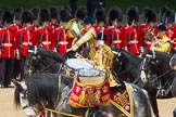 The Colonel's Review 2013: The Ride Past - the Mounted Bands of the Household Cavalry move, from the eastern side, onto Horse Guards Parade.. Horse Guards Parade, Westminster, London SW1,  United Kingdom, on 08 June 2013 at 11:51, image #725