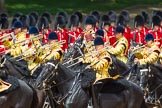 The Colonel's Review 2013: The Ride Past - the Mounted Bands of the Household Cavalry move, from the eastern side, onto Horse Guards Parade.. Horse Guards Parade, Westminster, London SW1,  United Kingdom, on 08 June 2013 at 11:51, image #726