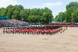 The Colonel's Review 2013: The Massed Band march away to leave room for  the Mounted Bands.. Horse Guards Parade, Westminster, London SW1,  United Kingdom, on 08 June 2013 at 11:50, image #717